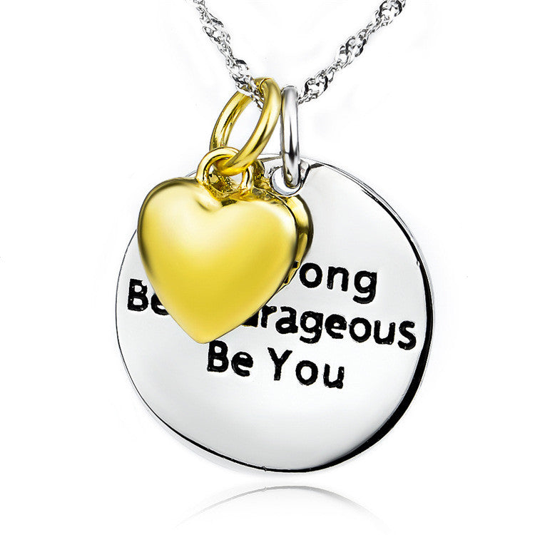 925 Sterling Silver Motivational Words Stamped Pendant Necklace