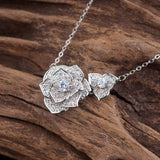 Lotus Design Natural Pearl Zircon Necklace