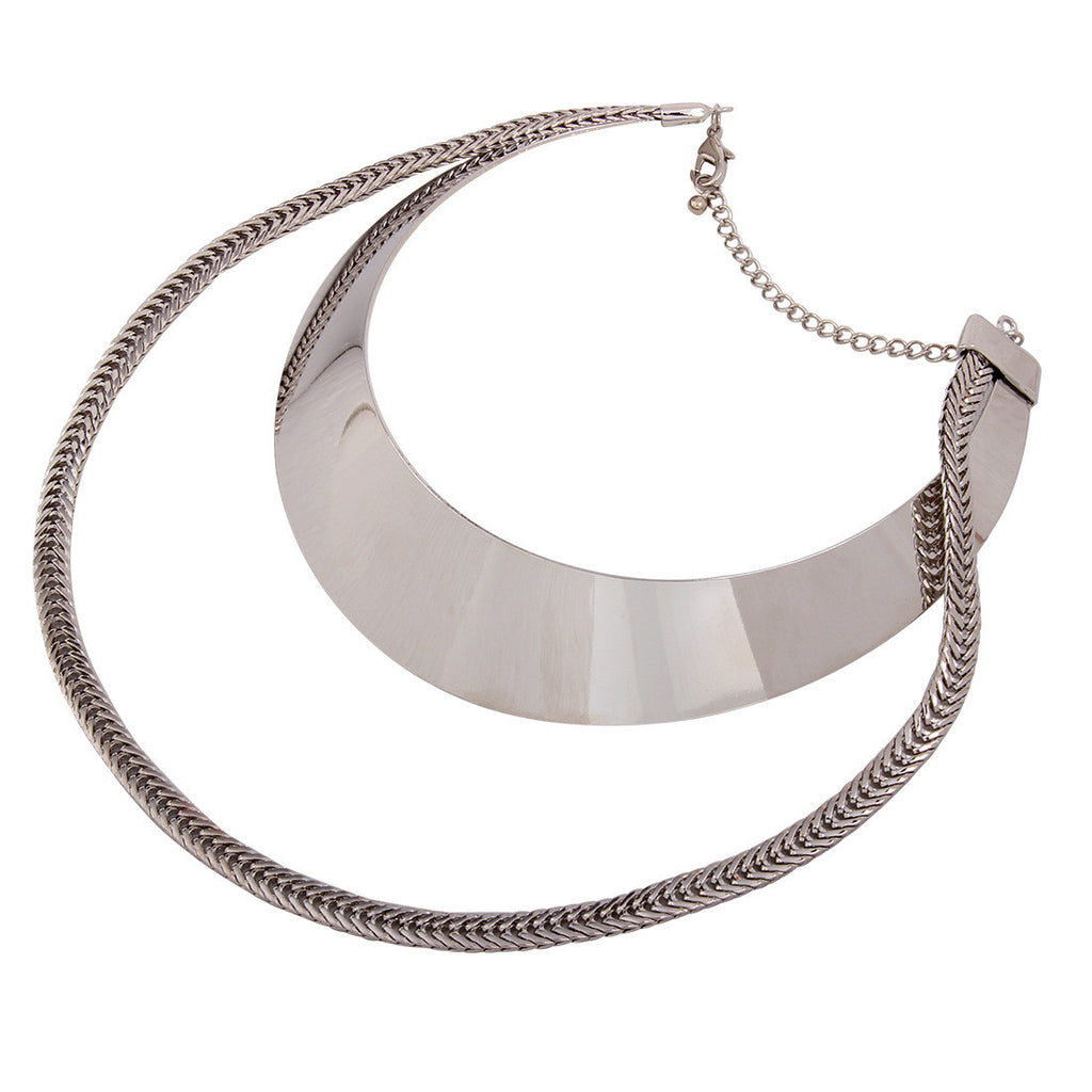 Double Layer Metal Choker Necklace