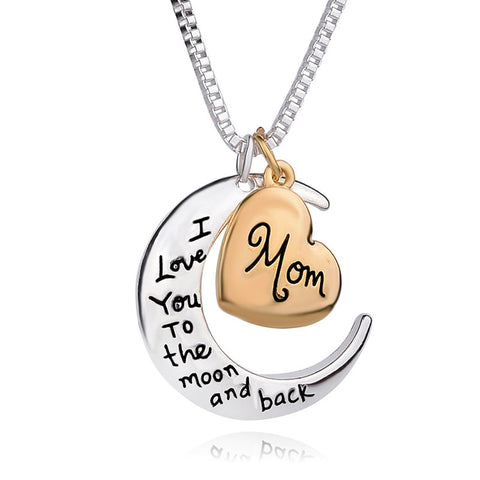 Mother's Jewelry - Mom Moon & Heart Ralationship Pendant Necklace