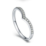 Classic V-Shaped Sterling Silver Diamond Ring