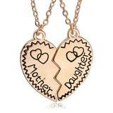 Mother and Daughter Heart Shaped Matching Pendant Necklace Set