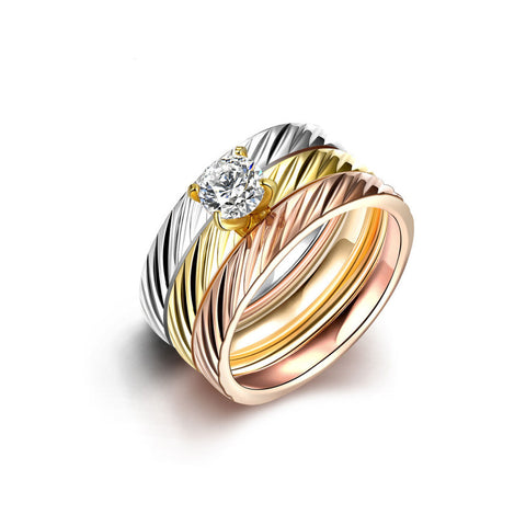Tri-layered Twill Ring Set Zircon