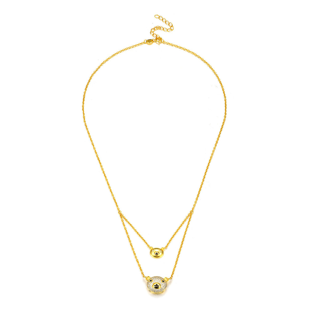 925 sterling silver 18k gold plated double layers teddy bear pendant 925 sterling silver 18k gold plated double layers teddy bear pendant necklace aloadofball Choice Image