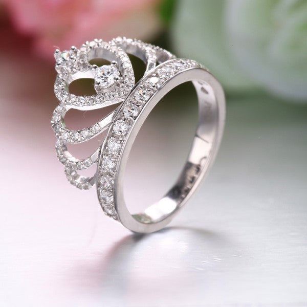 925 sterling silver princess crown zircon inlay engagement ring - Crown Wedding Ring