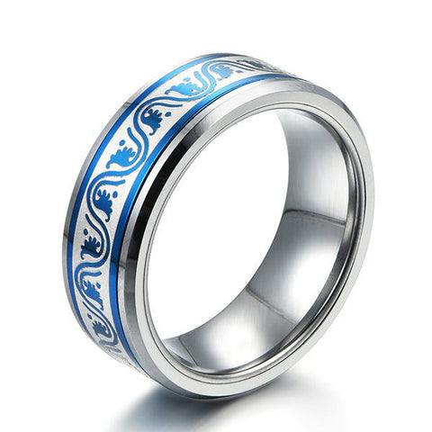Personalized Tungsten Carbide Inlay Band Ring for Men