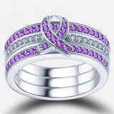 Ribbon Purple Diamond Three-Piece Ring Set