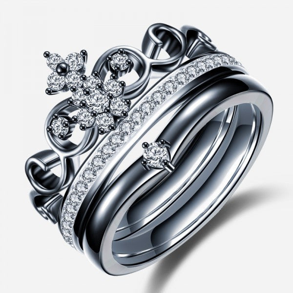 Engagement Rings With Black: Crown Shape Black Diamond Engagement Ring