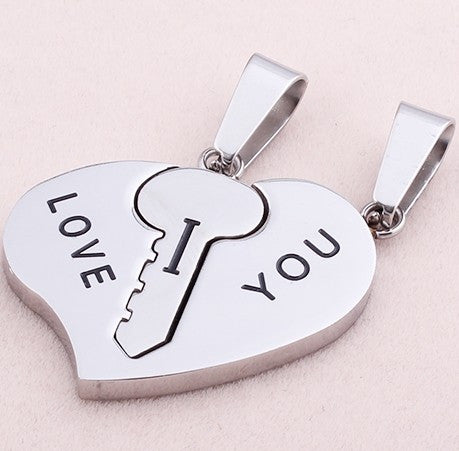 Romantic Titanium Heart-Shaped I Love You Lovers Necklaces (Price For a Pair)