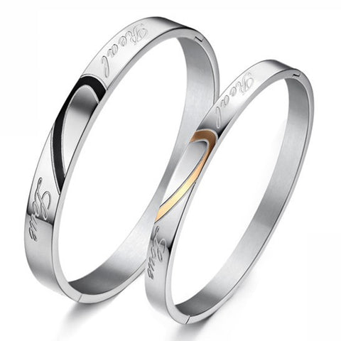 Couple Bangles Bracelets Heart-shaped Stainless Steel