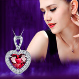 Romantic 925 Sterling Silver Heart-shaped Ruby For Women's Necklace