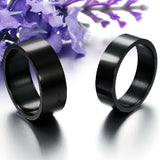 Personalized Pure Black Titanium Steel Lover Rings