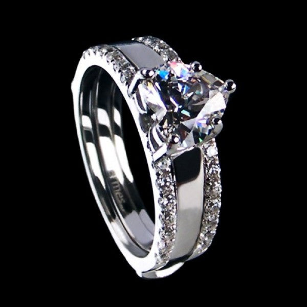 Heart Style 925 Sterling Silver Platinum Plated Cubic Zirconia Stack Ring for Women