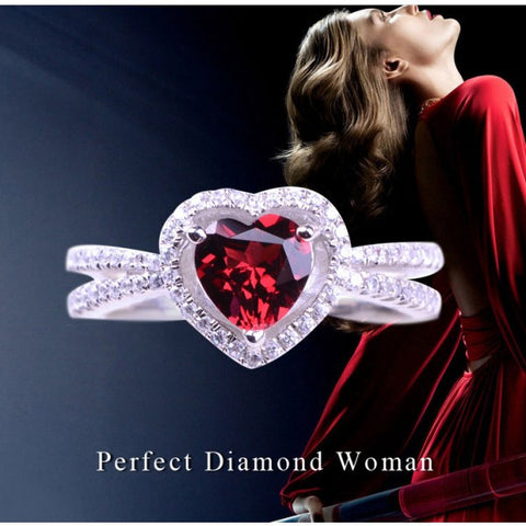 Romantic Solitaire Heart Shape Ruby Women's Sterling Silver Ring