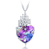 Women's Pendant Necklace Daily Heart Shaped Castle of Love 925 Sterling Silver Purple