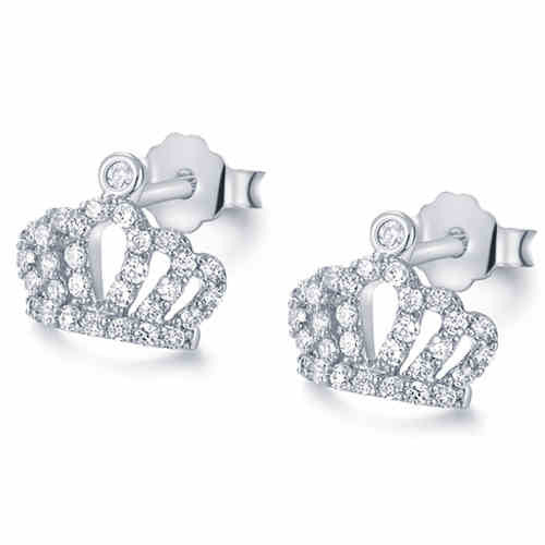 Crystal Studded Cut Out Crown Woman's Stud Earrings