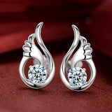 Women's Stud Earrings Daily Angle's Wing Sterling Silver Silver