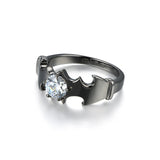 Personalized Batman Round Cut CZ 925 Sterling Silver Black Gold Plated Unisex Ring