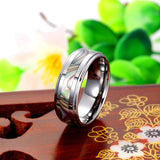 Personalized Tungsten Band With Seashell Inlaid Couple Rings