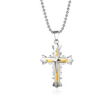 Multilayer Cross Titanium Steel Men's Necklace