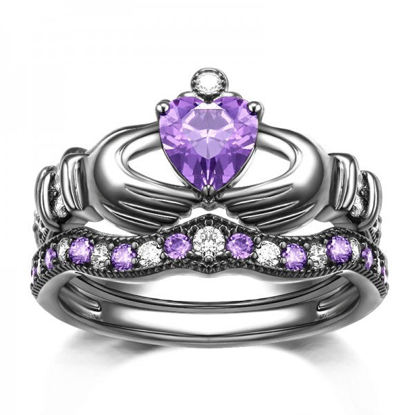925 Sterling Silver Purple Diamond Claddagh Engagement Ring Evermarker
