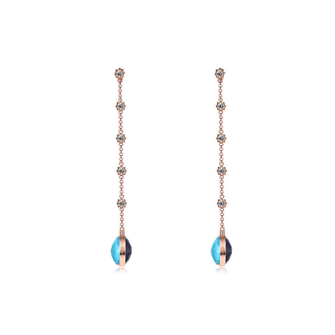 NOUSH SHIRAZ EARRINGS IN AMETHYST AND BLUE TOPAZ