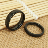 Personalized Simple Black Titanium Steel Lovers Rings