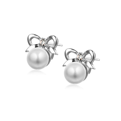 Bowknot Bead Stud Earrings