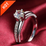 925 Sterling Silver Created Diamond Pave Promise Ring