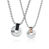 Hollowed Ring Titanium Steel Couple Necklaces