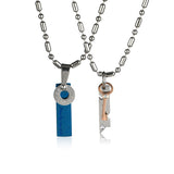 Lock & Key Titanium Steel Couple Necklaces