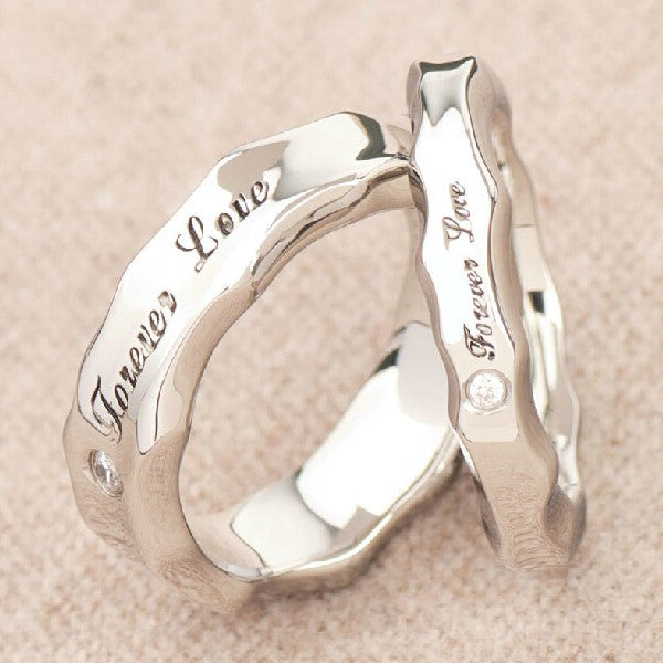 Loversanium Steel Cz Inlaide Rings With Words Forever Love