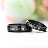 "Personalized ""Forever Love"" Titanium Steel Black Couple Rings"