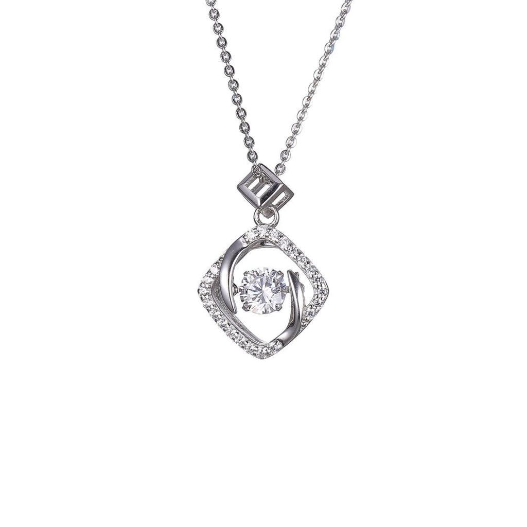 Sterling Silver Cubic Square Dancing Diamond Pendant Necklace