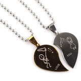 Love Heart Shaped Couple Pendant Necklace