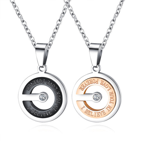 Believe In Your Love Black and Rose Gold Titanium Steel Couple Necklace