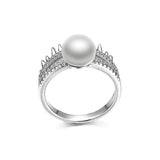 925 Sterling Silver Crown Pearl Ring