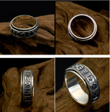 Men's Rotatable Sanskrit Mantra Ring 925 Sterling Silver