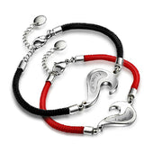 Match Heart Titanium Steel Rope Lover's Bracelets (Price For a Pair)