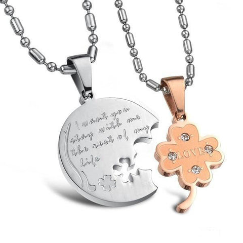 Four-leaf Clover Puzzles Pendant Couple Necklaces