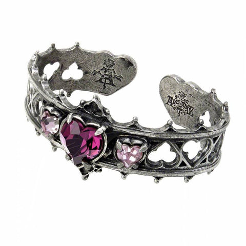 Elizabethan Heart Cut Crystal Inlaid Hollow Opening Bangle