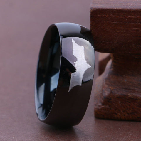 Personalized Batman Classic Logo Black Stainless Steel Men's Ring 8mm