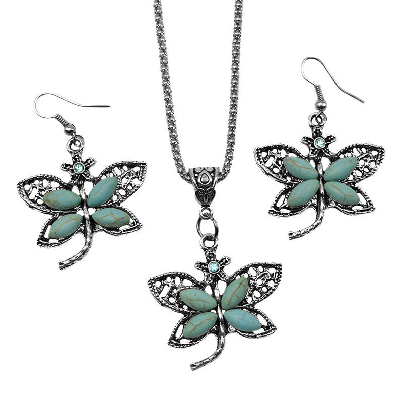 Vintage Turquoise Crystal Dragonfly Pendant Necklace Sets