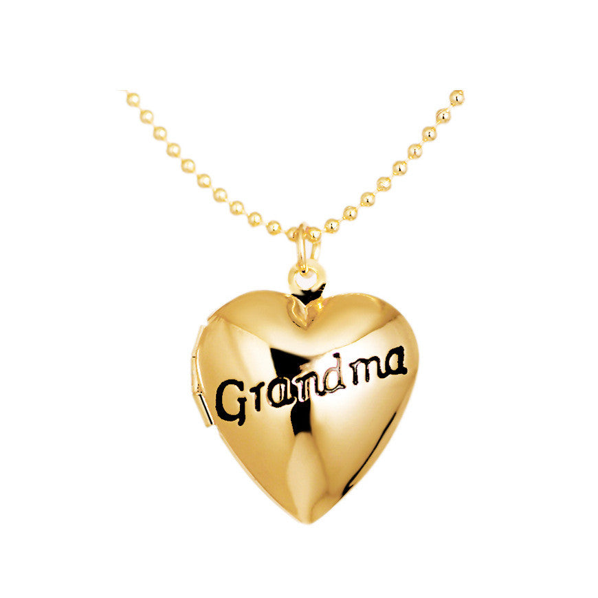 "Vintage Heart Shape ""Grandma"" Gold/Silver Plated Locket Pendant Necklace"