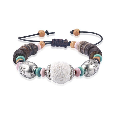 Volcanic Rock Wood Beads Charm Bracelet White