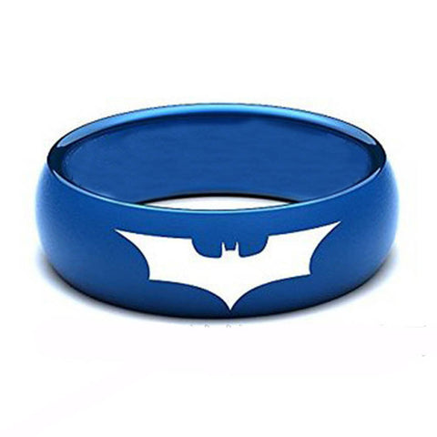 Personalized 8mm Unisex Blue Plating Tungsten Ring with Batman Logo