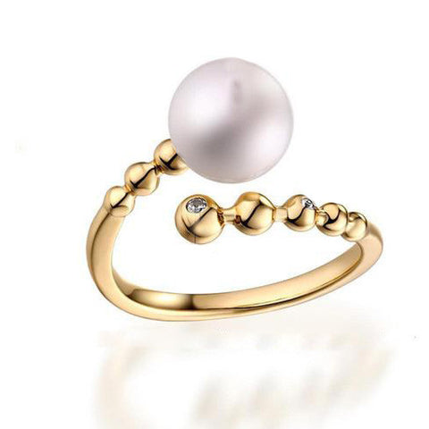 Stylish Pearl End Gold Plated Silver Cuff Ring