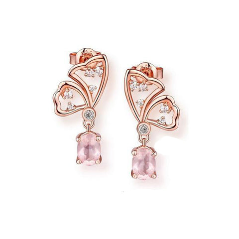 Elegant Rose Golden Butterfly 925 Sterling Silver Drop Earrings