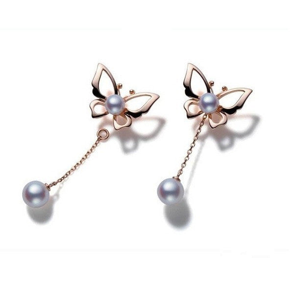Gorgeous Natural Pearl Drop Butterfly Earrings