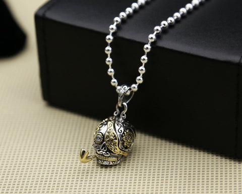 925 Sterling Silver Smoking Skull Pendant Necklace